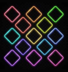 Colorful square neon frames set vintage rhombus vector