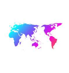 Colorful world map gradient design asia vector