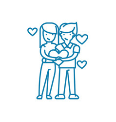 couple of lovers linear icon concept couple of vector image