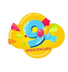 Cute cartoon template 9 years anniversary vector