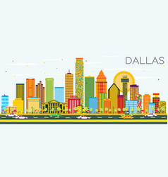Dallas skyline with color buildings and blue sky vector