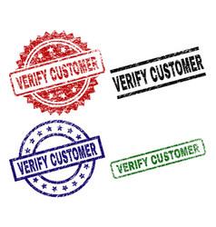 Damaged textured verify customer stamp seals vector