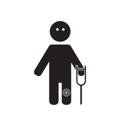 Flat icon in black and white style man knee pain vector