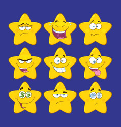 funny yellow star character collection - 2 vector image