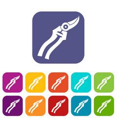 Garden shears icons set vector