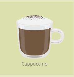 Glass mug cappuccino with creamy foam vector