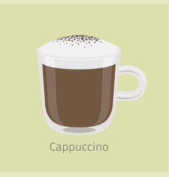 Glass mug of cappuccino with creamy foam vector