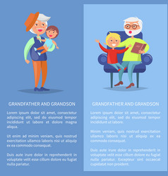 Grandfather and grandson set of posters with men vector
