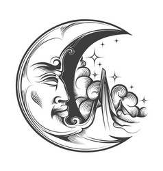 Hand drawn crescent moon esoteric symbol engraving vector