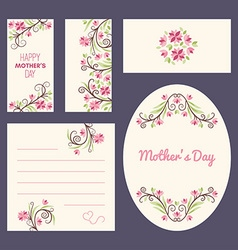 Happy Mothers Day Greeting Cards with Flowers vector