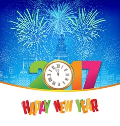 Happy new year fireworks 2017 clock background vector