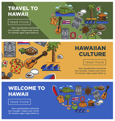 Hawaii travel posters of hawaiian famous vector