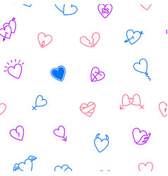 heart thin line seamless pattern background vector image