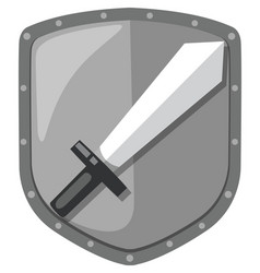 isolated sword shield logo vector image