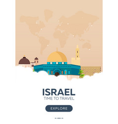 Israel time to travel travel poster flat vector
