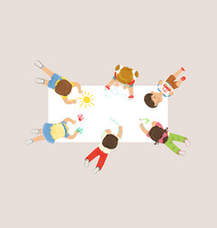 Little girl and boy lying on floor and drawing vector