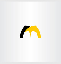 logotype letter m icon black yellow symbol sign vector image