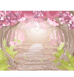 Magic spring forest vector image