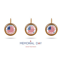 Medallions set on the chain for memorial day vector