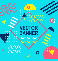 Memphis style banner template 80-90s background vector