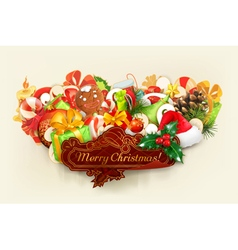 Merry Christmas group of objects vector image