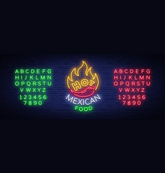 mexican hot food logo in neon style neon sign vector image