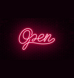 Open bright red neon inscription for signboard vector