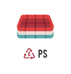 plastic recycling icon symbol and sign ps with vector image