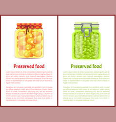 Preserved food poster pea and olives in glass jars vector