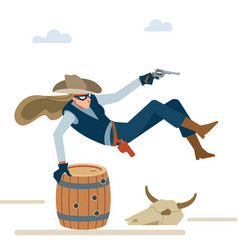 professional robber cowboy girl in a shootout vector image