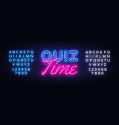 Quiz time neon sign quiz pub design vector