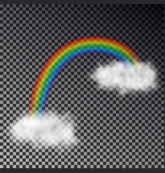 rainbow arc with white clouds isolated on checkere vector image