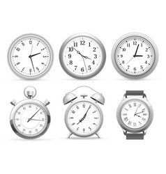realistic clocks wall round clock alarm and vector image