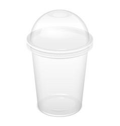 Realistic disposable big plastic cup vector