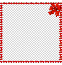 Red apples square border with festive ribbon vector
