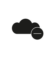 Remove from cloud black icon vector