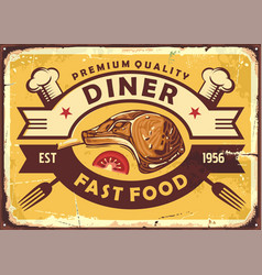 retro diner sign with lamb steak vector image