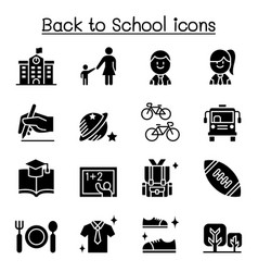 school education learning back to school icon set vector image