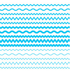 Sea water waves seamless borders aqua elements vector
