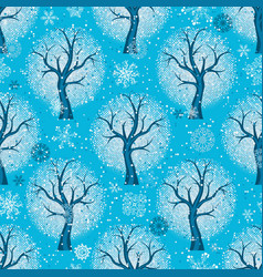seamless christmas pattern with stylized winter vector image