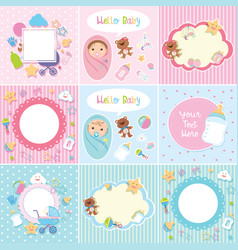 set cute baborder vector image