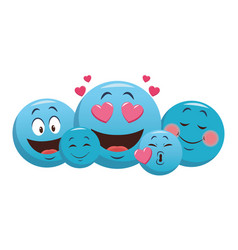 set of chat emoticons vector image