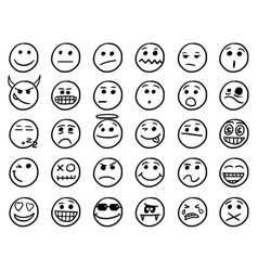 smiley hand drawings icon set01 in black and white vector image