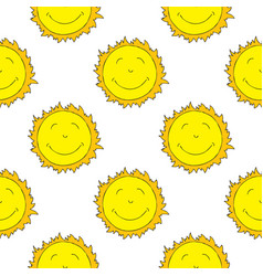 smiling sun seamless pattern vector image