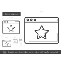 Starred page line icon vector image