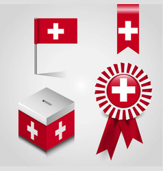Switzerland country flag place on vote box ribbon vector