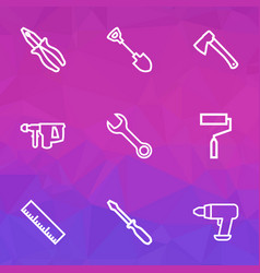 tools icons line style set with roller brush vector image