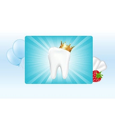 Tooth In Crown And Chewing Gum vector