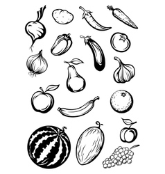 variety sketches fruits and vegetables vector image