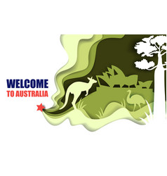welcome to australia poster paper cut vector image